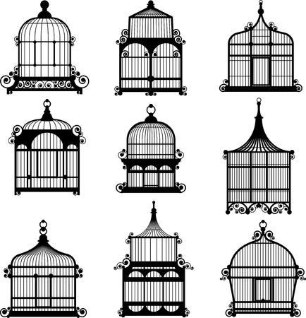 birdcage: set of ornamental vintage birdcage vector eps10