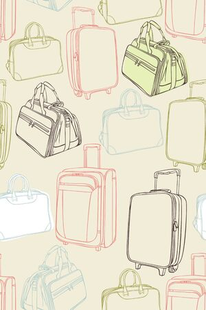 handbags: Seamless vector background with shopping bags, handbags, plastic bag, travel bag, suitcase, paper bag. Vector illustration. Seamless pattern can be used for textile, web design, surface textures.