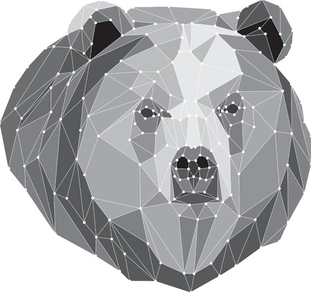 abstract portrait: bear gray triangle portrait  Abstract low poly design. Vector illustration. Illustration