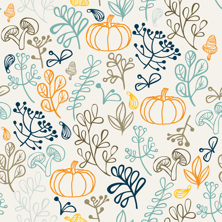 pumkin: Autumn seamless pattern can be used for wallpaper, website background, wrapping paper. Autumn elements design of leaf and pumkin