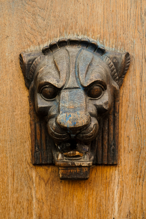 Wooden bas-relief of the head of a lion