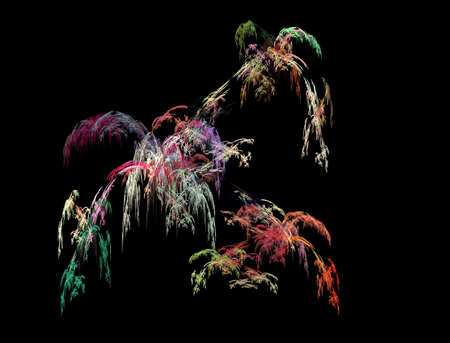 The abstract, fractal recursive color structure created by the program on a black background. The recursive image for creative graphic design. Stock Photo