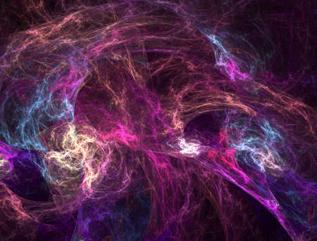 recursive: The abstract, fractal recursive color structure created by the program on a black background. The recursive image for creative graphic design. Stock Photo