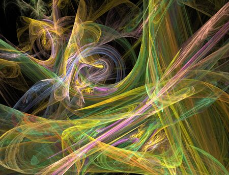 recursive: The abstract, fractal recursive color structure created by the program on a black background. The image for creative graphic unique design.
