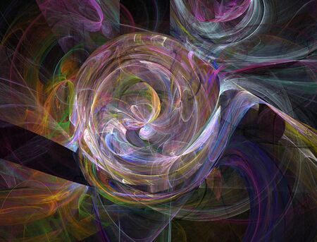 recursive: The abstract, fractal, recursive color structure created by the program on a black background. The image for creative graphic unique design.