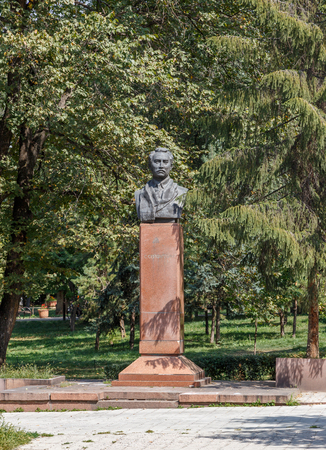 Almaty, Kazakhstan - August 29, 2016:  Seifullin. Alley with busts of heroes. Park at KBTU.