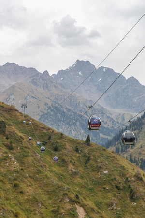 Almaty, Kazakhstan - August 30, 2016: cableway Medeo-Chimbulak. Editorial