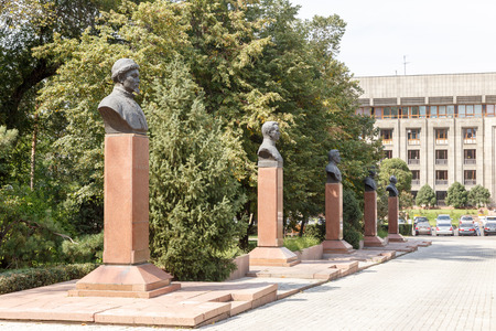 Almaty, Kazakhstan - August 29, 2016: Alley with busts of heroes. Park of the KBTU