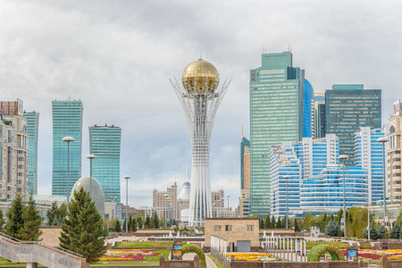 Astana, Kazakhstan - September 3, 2016: Baiterek - the central attraction of Astana on the background of clouds