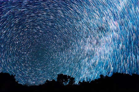 timelapse: Tracks from stars in the form of fading lines Stock Photo