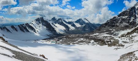 Mountain in the Clouds. Panorama. Tian Shan
