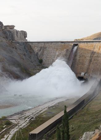 Kirov reservoir dam. (Built 1965 - 1975), Lenin's face on the administration. Valley Talas, Kyrgyzstan