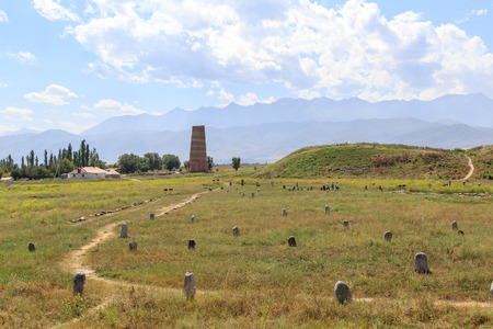 Burana tower (XI century) and the ancient stone sculptures of the peoples of Central Asia. Kyrgyzstan