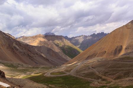 Serpentine on the mountain pass. Kyrgystan, Tian Shan
