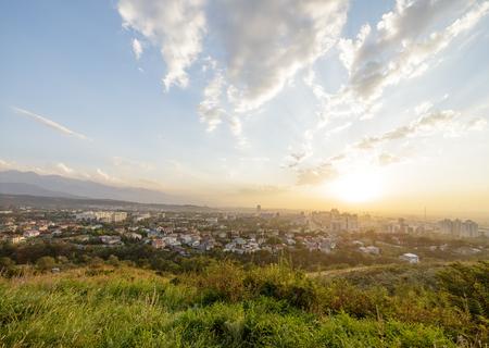 Sunset over the city of Almaty, Kazakhstan