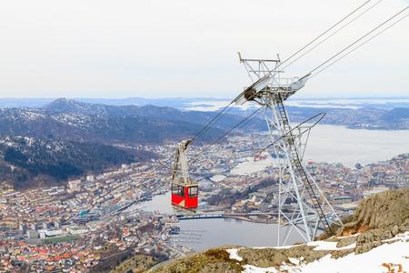 Funicular cabin against Bergen, Norway.