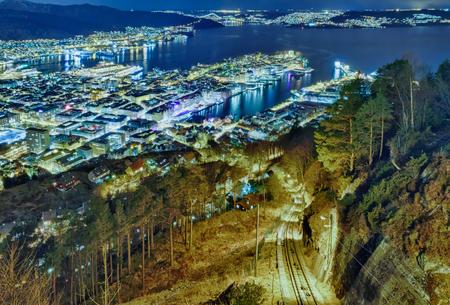 Funicular in the night city. Floibanen, Bergen, Norway