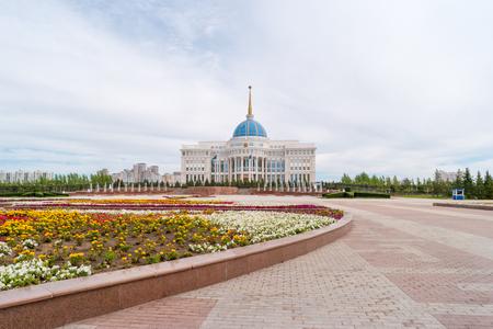 Astana, Kazakhstan - September 3, 2016: Presidential Palace Akorda on a background of clouds Standard-Bild