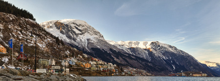 Panorama of the waterfront, house by the fjord. Odda, Norway