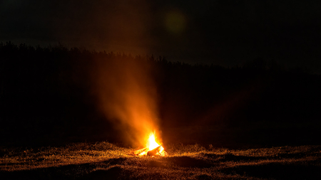 Bonfire at night on the field