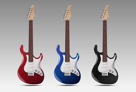 Set of realistic electric guitars. Vector illustration.