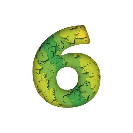 Paper cut number Six 6 letter. Realistic 3D multi layers papercut effect isolated on white background. Figure of alphabet letter font