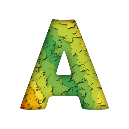 Paper cut letter A. Realistic multi layers papercut effect on white background. Colorful character of alphabet letter font.