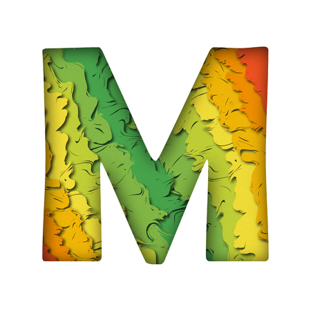 Paper cut letter M. Realistic multi layers papercut effect on white background. Colorful character of alphabet letter font. Banque d'images - 106291848