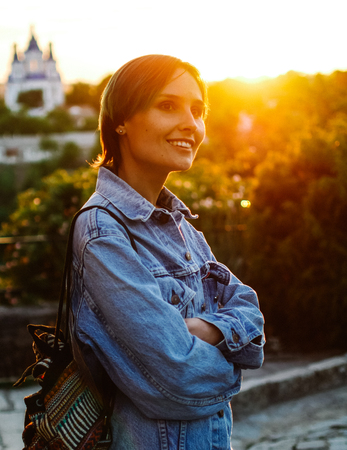 Young woman at sunset. Portrait