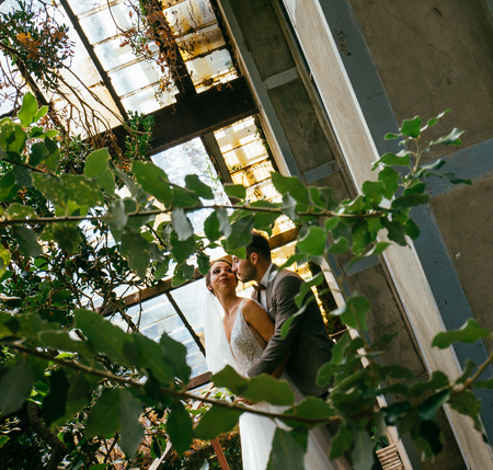 Wedding couple indoors is hugging each other. Beautiful model girl in white dress. Man in suit. Beauty bride with groom. Cute lady and handsome guy Standard-Bild - 117760493