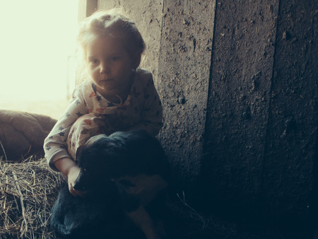 Little girl with a dog in a barn on straw. Standard-Bild - 117770357