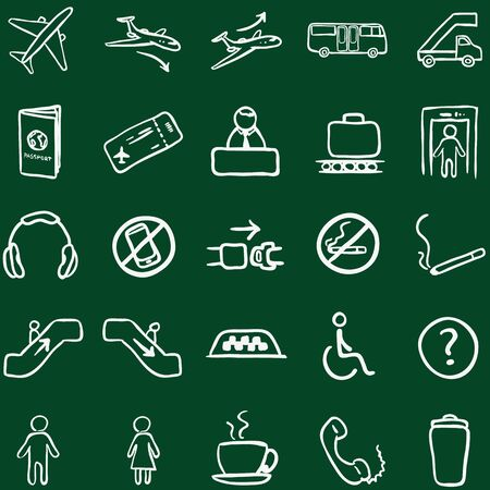 Vector Set of Chalk Doodle Airport Icons