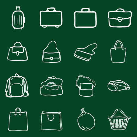rubbish cart: Vector Set of Chalk Doodle Bags Icons Illustration