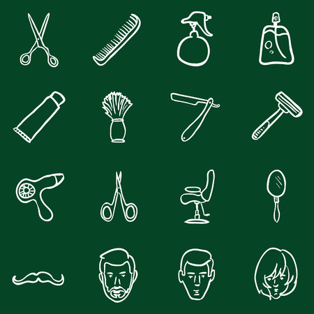 hair clippers: Vector Set of Chalk Doodle Barber Shop Icons