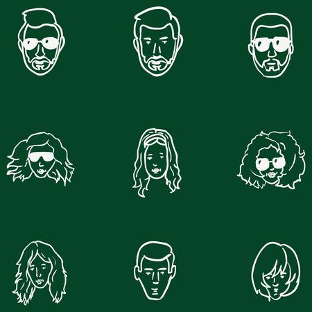 genteel: Vector Set of Chalk Doodle Hairstyles Icons.