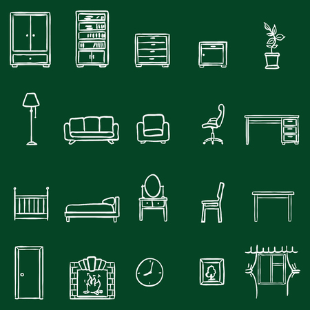 piece of furniture: Vector Set Of Chalk Doodle Furniture Icons