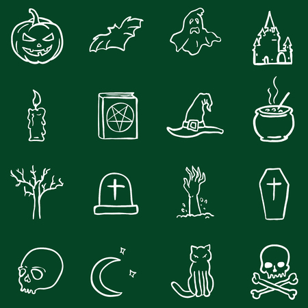 hearse: Vector Chalk Doodle Halloween Icons on Green Background Illustration