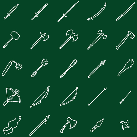 a cudgel: Vector Set of Chalk Doodle Medieval Weapon Icons