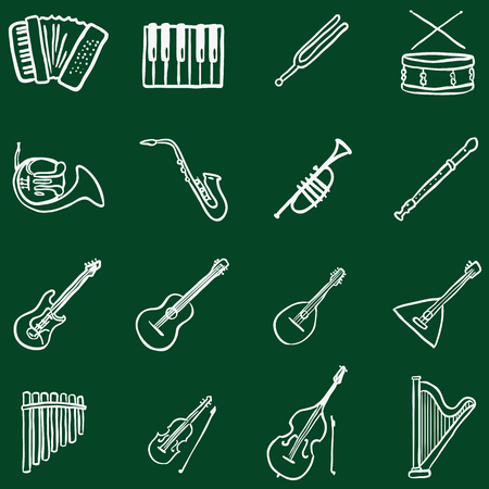 Vector Set of Chalk Doodle Musical Instruments Icons