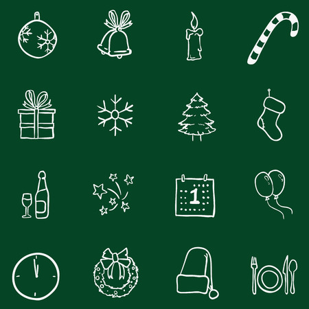 basic candy: Vector Set of Chalk Doodle Christmas and New Year Icons