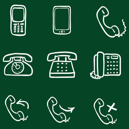 telephone icons: Vector Set of Chalk Doodle Telephone Icons