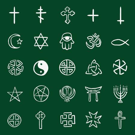 triskel: Vector Set of Chalk Doodle Religious Symbols