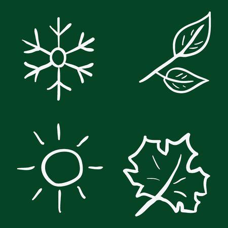 Vector Set of Chalk Doodle Season Icons