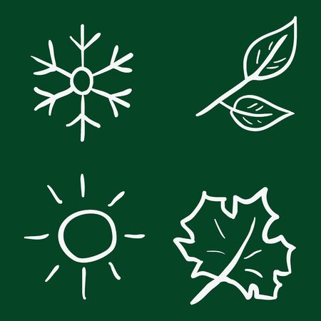 scorching: Vector Set of Chalk Doodle Season Icons