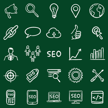 global settings: Vector Set of Chalk Doodle SEO Icons