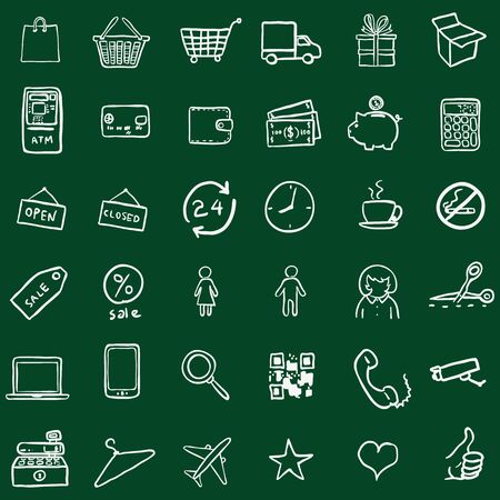 detachable: Vector Set Of Chalk Doodle Shopping Icons