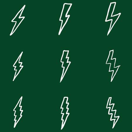 forked: Vector Set of Chalk Doodle Thunder Lighting Icons Illustration