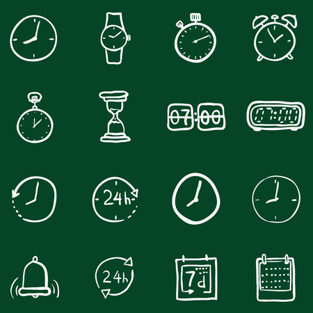 chronology: Vector Set of Chalk Doodle Time Icons Illustration