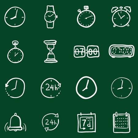 Vector Set of Chalk Doodle Time Icons Illustration