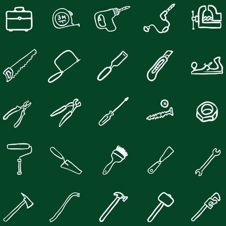 claw hammer: Vector Set of Chalk Doodle Work Tools Icons